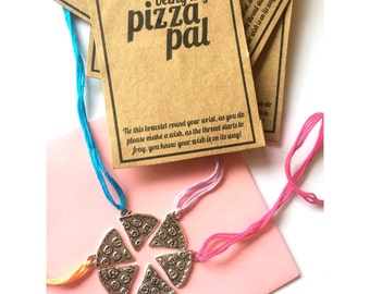 Pizza pals charm wish friendship bracelet
