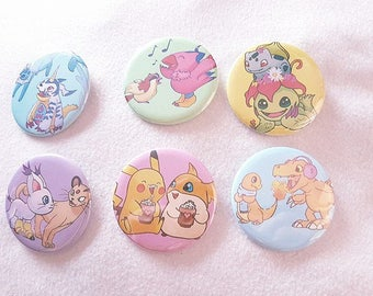 Pokemon Digimon Friendship Buttons