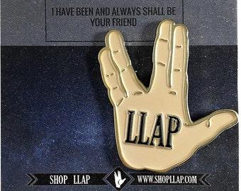 LLAP -Live Long and Prosper- Star Trek Enamel Pin With Vulcan Hand Salute