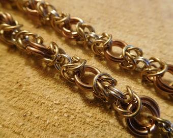 Silver, bronze and brass byzantic weave bracelet