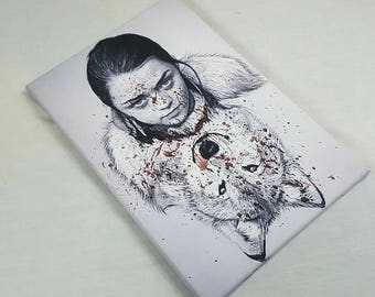 Arya Stark With Dierwolf Painting on an A4 Size Canvas (game of thrones)