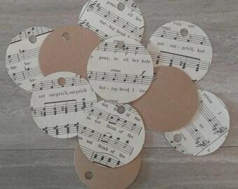 Handmade tags / Music Sheets / Music Sheet Gift Tags / Vintage Music Sheets / Handmade