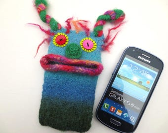 "Smartphone Monster ""Lisa"" Handytasche, Monster, Samsung Galaxy S 3 mini, iPhone 4s, bag, felt, cover, knitted, felted"