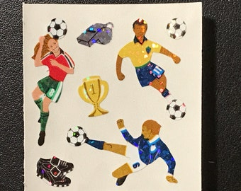Sandylion Stickers Scrapbooking vintage Boy playing Soccer   (1 mod)