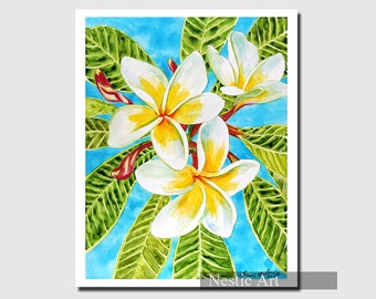 Plumeria, flowers, Hawaii, watercolors, fine art, Hawaiian flower, white flower, aloha, printable, download, relax, wall art