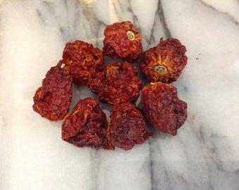 Organic dried Carolina reaper chilli, Chile, worlds hottest chilli
