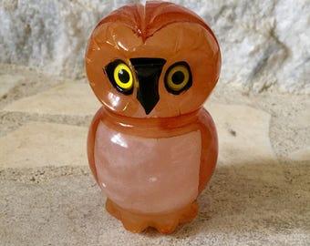 vintage alabaster owl figurine - paperweight - ducceschi - made in italy - orange