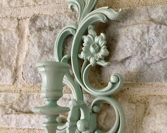 vintage syroco candle holder wall sconce 3933 seafoam green shabby cottage