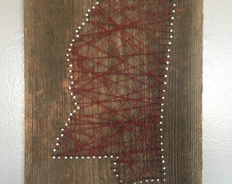 Reclaimed Wood State String Art