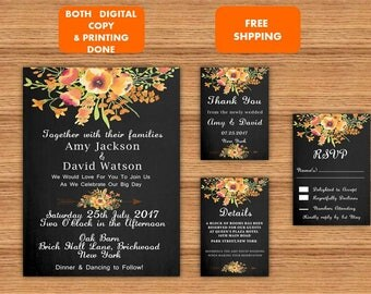 Watercolor Floral Printable Wedding Invitation Set RSVP Wedding Details Card Thank you Template Download Printed Wedding Invitation