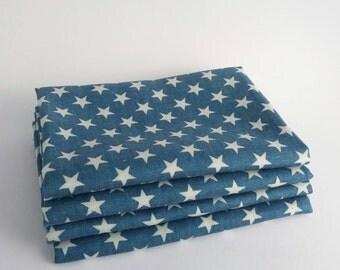 Stars on Denim Style Blue 100% COTTON FABRIC MATERIAL, Fat Quarter: 50cmx75cm, Half or Full Metre