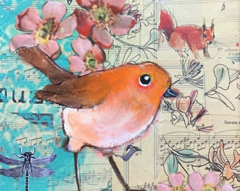 painting with orange bird with flowers