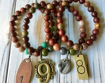 Natural earth tones bracelet set