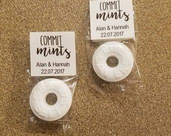 50 Wedding favors, commit-mint Wedding favor, personalized wedding favor, wedding favors mints, wedding favors candy, rustic wedding favors