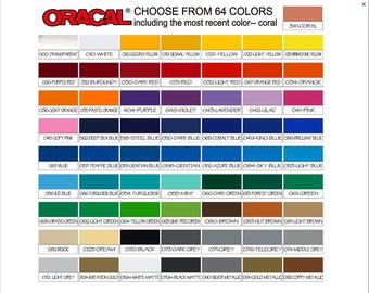 Listing of all Colors of Vinyl available for your orders - Orcal 653, Glitter and Special order Vinyl _DO NOT ORDER