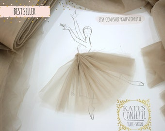 173 Taupe Soft Luxury Tulle Fabric, Tulle Material Wholesale, Tulle Fabric Tutus, fabric for tutu, tulle shop - 3m width