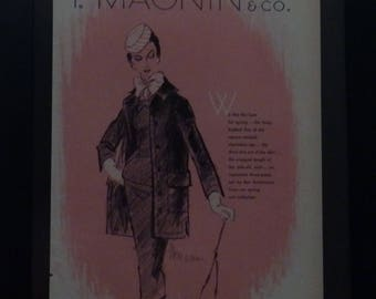 Vogue 1955, Midcentury Fashions, Vintage Ads, Wall Decor, Illustration, Ben Zuckerman, I. Magnin & Co, Erwin Blumenfeld,
