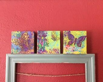 Mixed media canvas, mixed art, wall art, butterflies