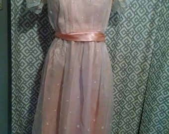 Vintage Peach Prom - Bridesmaid Dress - Late 70s early 80s