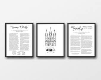 Living Christ + Salt Lake Temple + Family Proclamation | Set of 3 | Digital Prints | Instant Download | LDS | 8x10