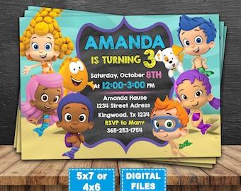Bubble guppies invitation, bubble guppies birthday invitation, bubble guppies invite, bubble guppies birthday party, bubble gupies printable