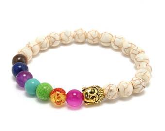 7 Stone Chakra Bracelet Men Black Lava Healing Balance Beads Reiki Buddha Prayer Natural Stone Yoga Bracelet For Women and Men.