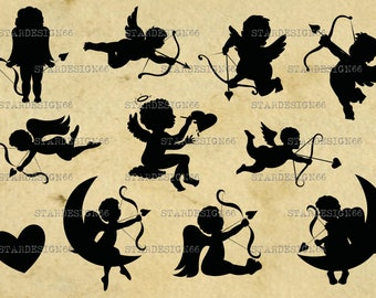 Digital SVG PNG JPG Cupid, heart, vector, clipart, silhouette, instant download