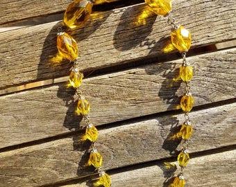 Amber Topaz faceted glass Czech necklace - rich warm colours, Art Deco style