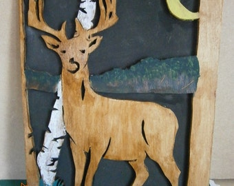 Wooden Portrait of a Deer, Hand Painted,