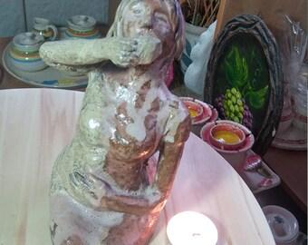 ceramic sculpture,pregnant woman sculptur,pregnant woman drinking poison ,Woman Figurine,clay pregnant woman