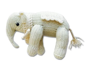 Cashmere Elephant for Babies + Little Ones-Handmade Baby Gift. Made at a Women's Center,Nepal-Proceeds support education for Nepali children