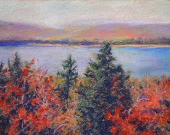 IMPRESSIONIST FALL FOLIAGE Landscape from Maine coastal area in Original 8 x 11 Pastel Painting by Sharon Weiss