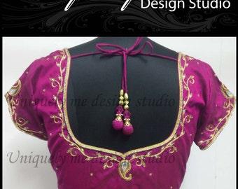 pink saree blouse