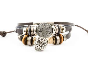 Essential Oil Lava Stone Diffuser Bracelet - Black/Brown Leather Aromatherapy Band