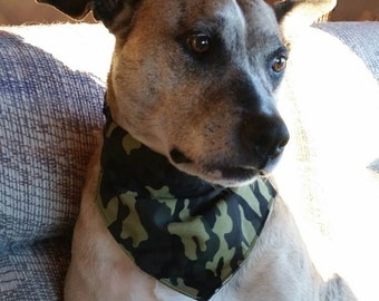 Camo Dog Bandana, Camo Bandana, Camouflage Bandana, Puppy Bandana, Camo Hankerchief, Over the Collar Bandana, Green Camo, Dog Lover Gift