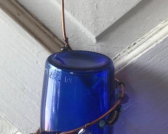 Cobalt Blue Bottle Hummingbird Feeder