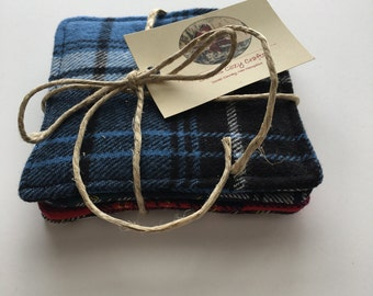 Coaster Set, Plaid Flannel, Ski Lodge Coasters, Hostess Gift, Camp Rustic Style, Country Life