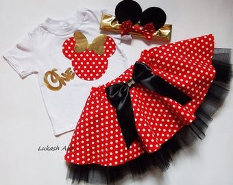 Minnie Mouse,First Birthday Outfit, Minnie Mouse Birthday Outfit Tutu Dress, Minnie Mouse Ears, Red Minnie Mouse Tutu,Disney Birthday Outfit