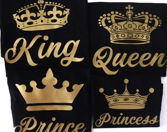 King Queen Prince Princess Shirt Set Family Couple Valentines Gift