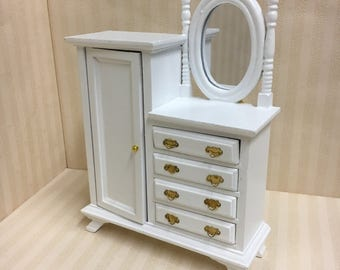 Dolls House White Wardrobe with Drawers