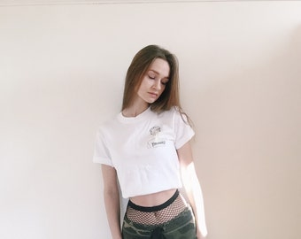 Anastasia' hand printed illustration on white t shirt