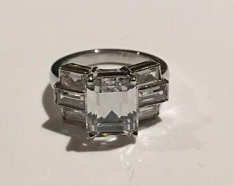Sterling Silver CZ Emerald Cut  Stone Ring