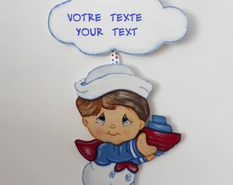 Small sailor door decoration - decoration for boy, baby - wall decoration - white, blue and red