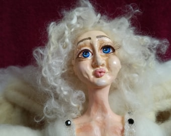 Angel Agnes from polymer clay and needle felt OOAK doll