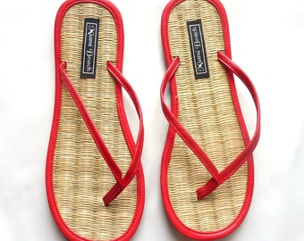 Flip-Flops of rice straw with thong red imitation leather (4.5-9.5)