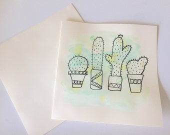 Cactus Card  // Succulent Watercolour Card // Birthday Card // Anniversary Card // Mother's Day Card // Wedding Card // Easter