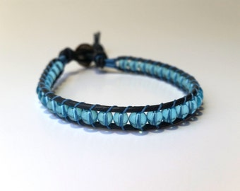 blue bracelet, womens bracelet, blue wrap bracelet, leather wrap bracelet, blue beaded bracelet, grey leather bracelet