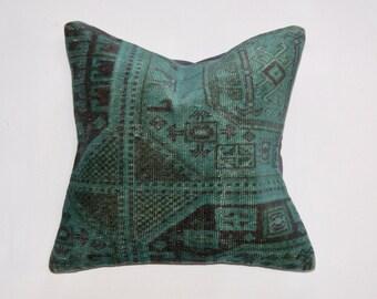 Teal Vintage Rug Pillow
