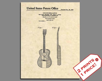 Guitar Patent - Vintage Buck Owens Acoustic Guitar Poster - Guitar Wall Art - Acoustic Guitar Patent Prints - Wall Art - Patent Poster 453