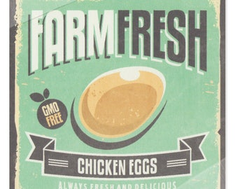 Vintage Food Poster | Digital Print | Farm Fresh Chicken Eggs | Always Fresh and Delicious